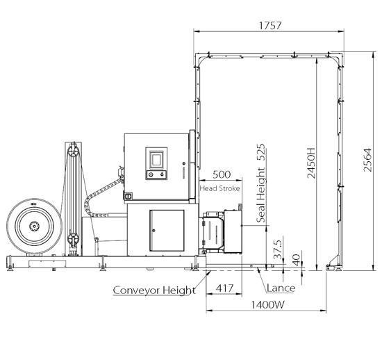 Flejadora auto tp-703VLM medidas